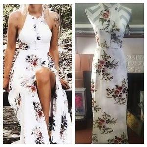 New w Bag! Stunning Maxi Dress Wht Floral Tieback